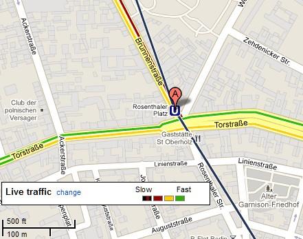 Rosenthaler Platz traffic in Google Maps (July 18th 2011)