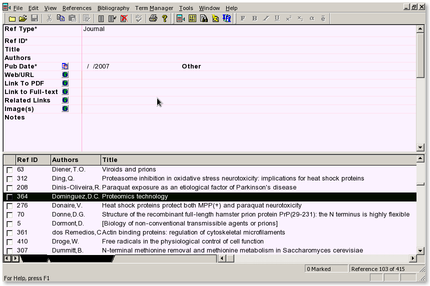 Screenshot of Reference Manager under Linux via Wine