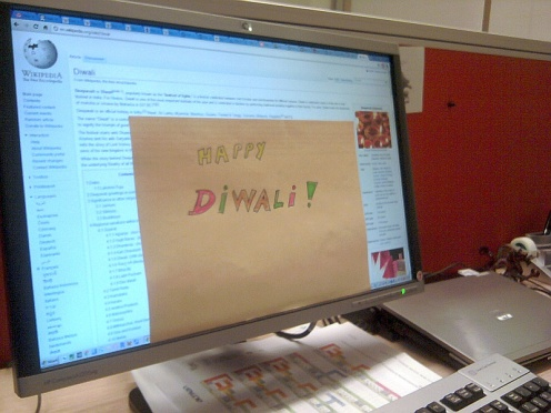Happy Diwali mini-poster in the office