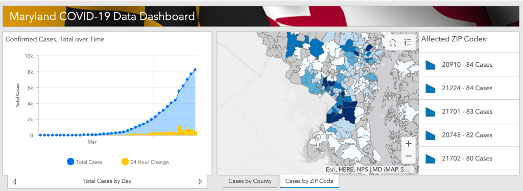 Maryland Department of Health - Coronavirus information dashboard with ZIP code information. Screenshot taken on April 12, 2020.