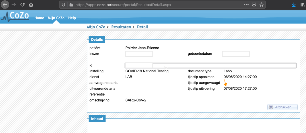 Web interface for COVID-19 PCR test results in Belgium. Results took 1 day to appear.