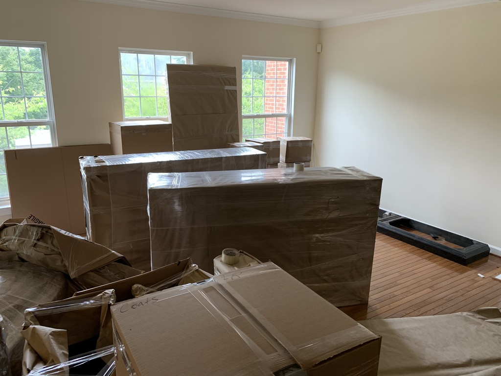 Boxes of packed furniture during our move, July 2020